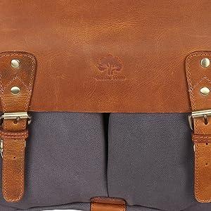 d4e5b8cfc9 Leather Canvas Messenger Bag for Men and Women Laptop Satchel Business Briefcase  Shoulder Bag