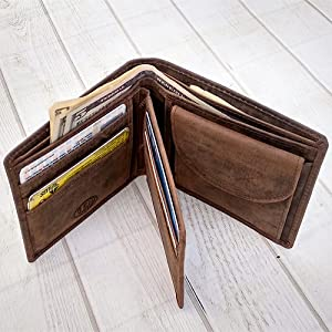 Men's Bifold Wallet Sleek and Slim Includes ID Window and Credit Card Holder