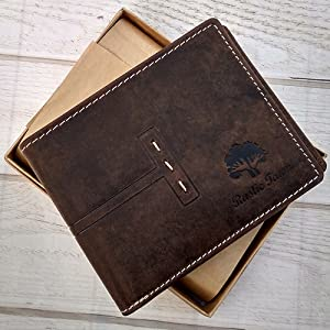 Leather Bifold Wallet for Men with 1 ID Windows & Coin Pocket cash compartment