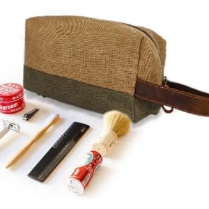 handmade leather canvas handy carry on travel organizer packing shaving kit cosmetic toiletry bags