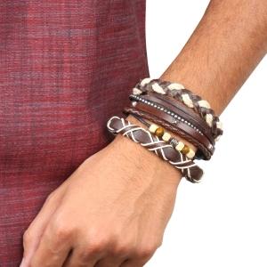 Braided Genuine Vintage Leather Bracelet Cuff Wrapped Bracelet Adjustable Brown for Men Women