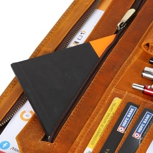 Genuine portfolio Leather portfolio Writing Pad Case slots Handed Use Tablet Sleeve pocket
