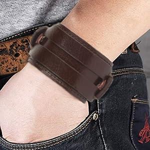 Women Men Genuine Cuff Bangle Leather Bracelet Adjustable Wristband in Punk Design jewelry handmade
