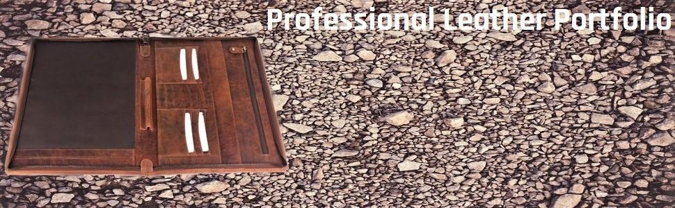 Professional Padfolio leather Portfolio Business Document Storage Writing Pad Dark Brown file folder