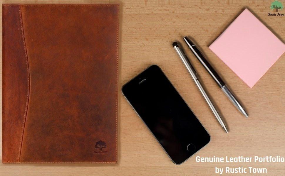 leather portfolio padfolio business file folder document holder for men women gift