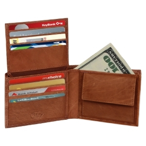 handmade Rustic Town Genuine Leather rfid blocking mens wallet bifold gifts cards holder slots coin