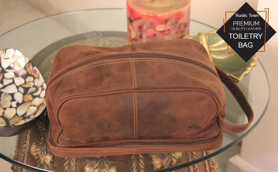f6fd4e0a96 Premium Quality Leather Toiletry Bag for Men Women (Tan Color)