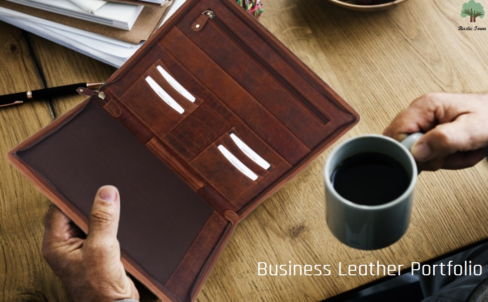 Professional Padfolio Resume leather Portfolio Business Document Storage Writing Pad Brown folder