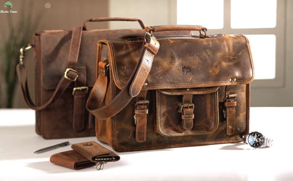 Vintage Handmade Leather Messenger Laptop Briefcase Computer Satchel distressed Bag  Briefcase