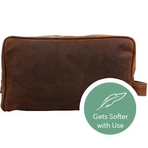 handmade Vintage genuine Leather Travel Toiletry Bag Shaving Dopp Kit men women gifts