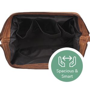 Travel Toiletry Organizer Genuine Leather Cosmetic Bag Shaving Grooming Dopp Kit Portable Handle