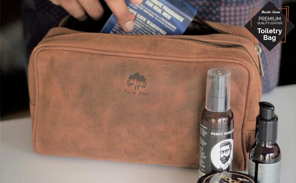 Handmade Genuine Leather Toiletry Bag women cosmetic dopp kit bathroom organizer gift Men Women
