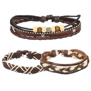 Genuine Multilayer Adjustable Leather Woven Braided Bangle Cross Bracelet Leaf Wrist Cuff Wristband
