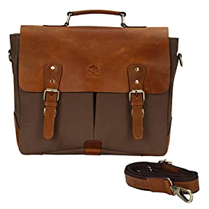 Leather Canvas Messenger Bag Shoulder Laptop Computer Satchel Book bag Working Crossbody Men Women