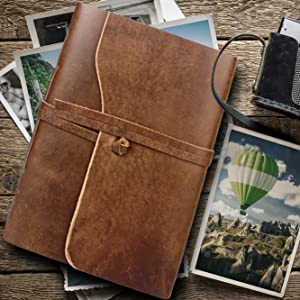 premium quality Genuine Leather Photo Album Gift Box Scrapbook Style Pages Holds Family memories