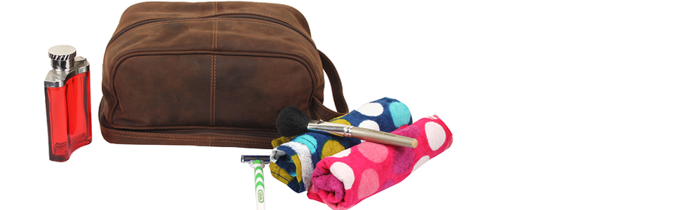 91ea75c785 Amazon.com   Genuine Leather Travel Cosmetic Bag - Hygiene Organizer ...