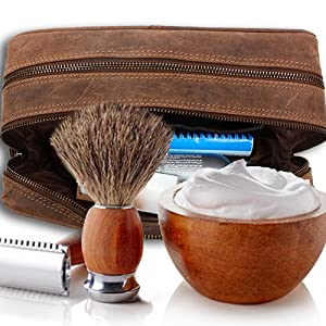 handmade genuine leather toiletry dopp kit bags makeup shaving bag travel accessories organizer gift