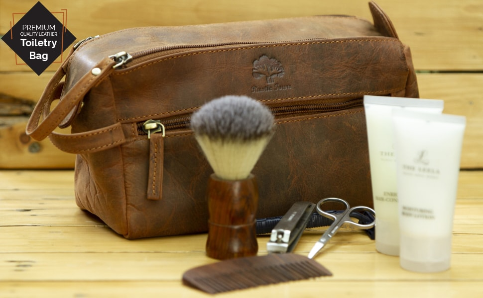 handmade leather canvas travel accessories toiletry shaving cosmetics dopp kit bag