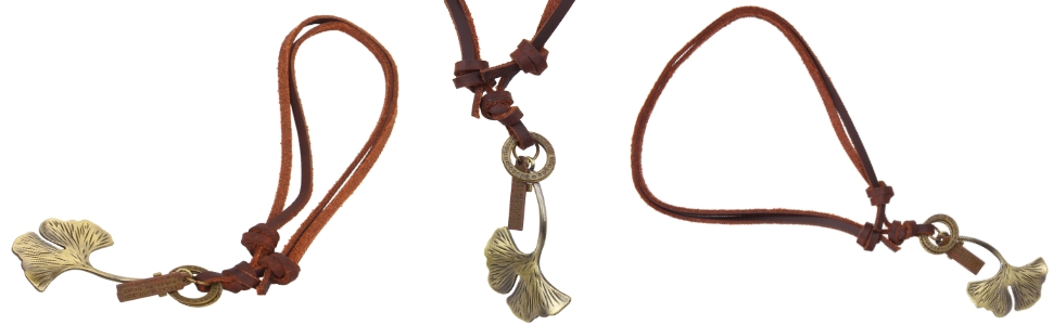 vintage genuine Retro Style Petal Pendant Unisex Necklace Men Women Adjustable Leather jewelry gifts