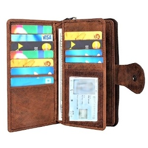 RFID Blocking Ultra Slim Genuine Purse Leather ZIPPED Clutch wallet organizer Card Slots Bifold