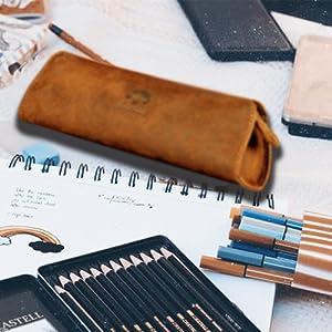 vintage genuine leather Cosmetic Pen Pencil Stationery Pouch Bag Case Pro Case Pencil Bag Pen Case