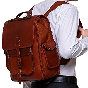 Brown Vintage Leather Backpack Laptop Messenger Bag Rucksack Men Women shoulder bag briefcase