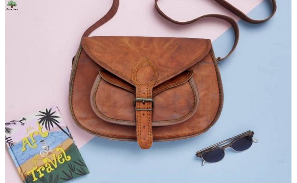 vintage leather handcrafted women ladies girls crossbody tote messenger shoulder bags purse handbag