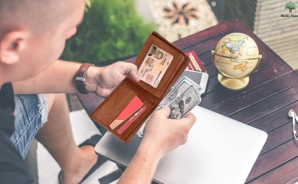 Mens Genuine Leather RFID Blocking Vintage Slim Bifold Wallet Handmade ID Window Stylish