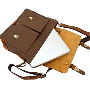 Leather Canvas Messenger Bag Shoulder Laptop Computer Satchel Book bag School Working Crossbody