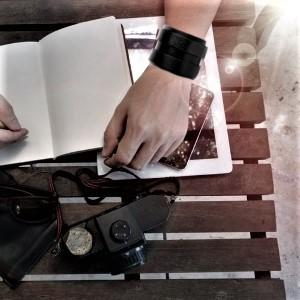 Genuine Leather Adjustable Wide Belt Wristband Bangle Cuff Braided Cuff Bracelet Unisex gift jewelry