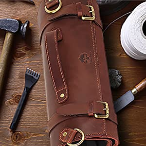handcrafted genuine leather chef knife roll home indoor outdoor handle shoulder hanging