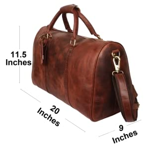 be5b3167ae Genuine Vintage Leather Travel Duffle Bag Overnight Weekend Luggage Carry  On Airplanes Underseat Gifts for Men Women by RUSTIC TOWN(Brown) DF17ADN