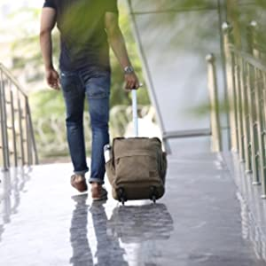 waxed trolley wheel canvas cotton waterproof laptop backpack shoulder bag handle men women gifts
