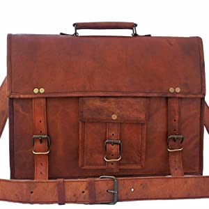 handcrafted handmade leather satchel messenger bag carry on travel shoulder bag briefcase men women