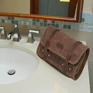 handmade leather canvas travel accessories toiletry shaving cosmetics dopp kit bag hanging