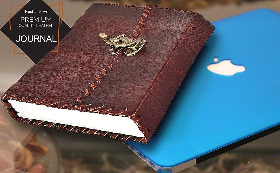 Amazon.com: Town rústico Handmade Diario de piel para ...