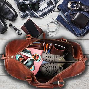 bag leather women men duffel travel weekender sports luggage airplanes carry-on gym heavy weekend
