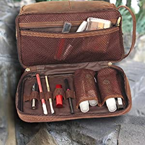 Leather Cosmetic Bags Shaving Grooming Dopp Kit Portable Handle