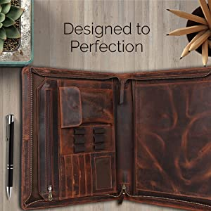 Professional Business Zippered Padfolio Portfolio Organizer Folder Handles Notepad Real Leather