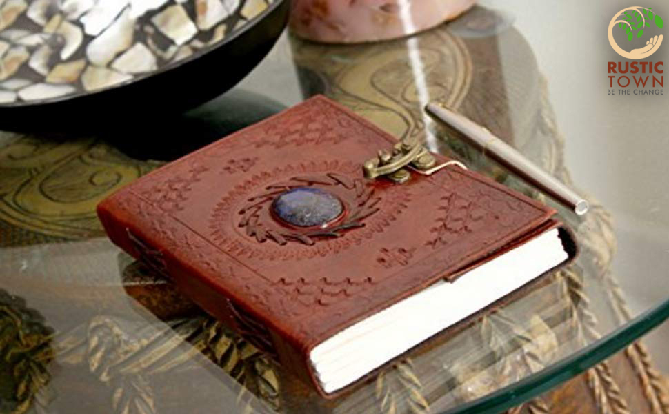 premium quality Handcrafted Unique Vintage designer stone Leather Journal notebook writing Men Women