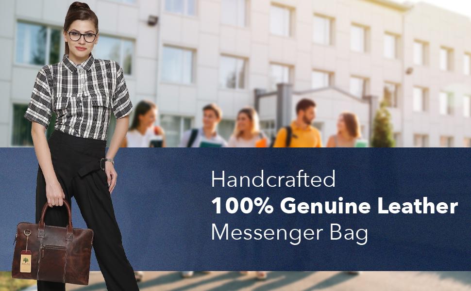 Leather satchel messenger Laptop Bag Shoulder Strap Water resistant Computer Briefcase Carry-on