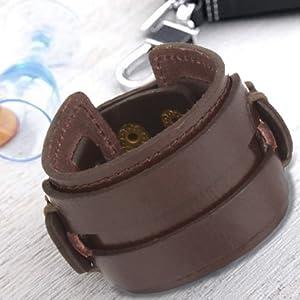 Punk Men Women Black Brown Wide Genuine Leather Wrap Cuff Bangle Bracelet Belts Waistband Adjustable