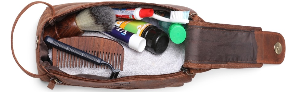 Handmade Genuine Leather Toiletry Bag for Men Women