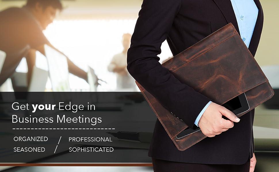 Zippered Padfolio Portfolio Document Organizer Internal Holders tablet Phone Cards Genuine Leather