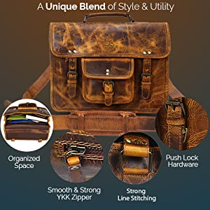 handcrafted Leather satchel messenger Laptop Bag Handle Briefcase Carry on travel shoulder bag
