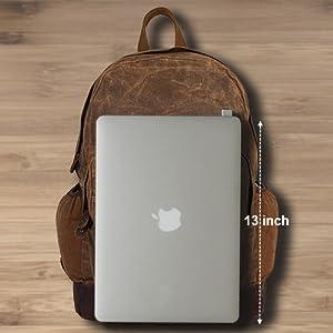 Canvas Backpack Vintage Leather Casual Bookbag Laptop Backpacks Travel Rucksack Men Women unisex