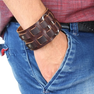 Mens Genuine Leather Wristband Cuff Bangle Bracelet