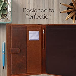 portfolio padfolio folder leather artwork organizer men women notebook resume portfolios zippered
