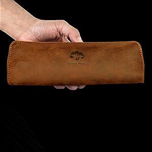 handcrafted genuine vintage leather pencil pen case holder pouch men women boys kids gift artist