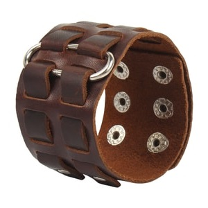 Bracelet Wide Brown Belt Cuff Bangle Handmade Jewelry for Men adjustable
